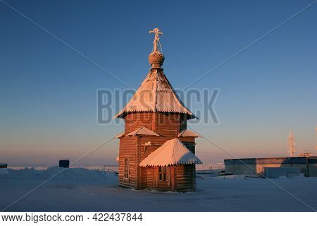 Temple-chapel In Honor Of The Archangel Of God Michael. Norilsk Airport. Russia.