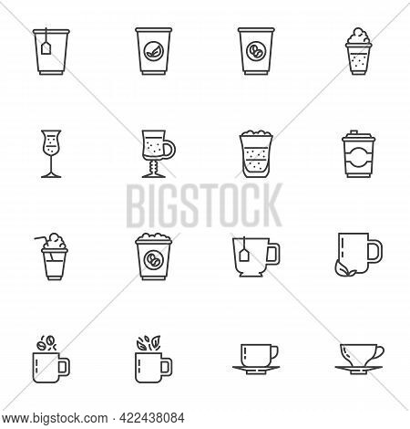 Coffee Shop Drinks Line Icons Set, Outline Vector Symbol Collection, Linear Style Pictogram Pack. Si
