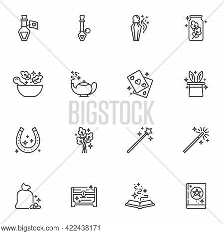 Magic And Witchcraft Line Icons Set, Outline Vector Symbol Collection, Linear Style Pictogram Pack.
