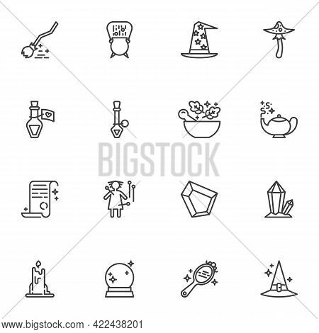 Witchcraft Magic Line Icons Set, Outline Vector Symbol Collection, Linear Style Pictogram Pack. Sign