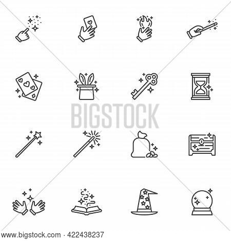 Magic Tricks Line Icons Set, Outline Vector Symbol Collection, Linear Style Pictogram Pack. Signs, L