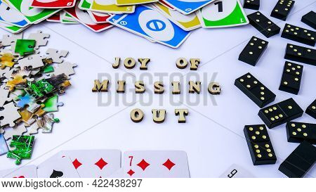 Kiev, Ukraine - 10.03.2021 Joy Of Missing Out. Abbreviation Word Jomo. The Concept Of Relaxation Fro