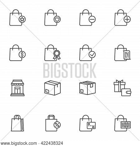 Shopping And Ecommerce Line Icons Set, Outline Vector Symbol Collection, Linear Style Pictogram Pack