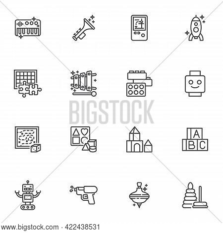 Toys Line Icons Set, Outline Vector Symbol Collection, Linear Style Pictogram Pack. Signs, Logo Illu