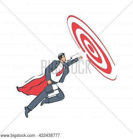 Business Aim. Businessman With Briefcase Standing On Dart To Achieve Business Goal. Vector Illustrat
