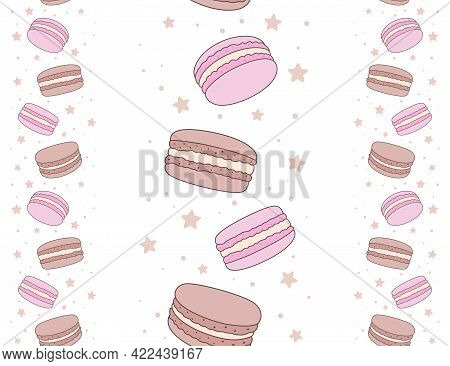 Brown And Pink Macaroons And Small Stars Isolated On A White Background. French Sweet Pastries And D