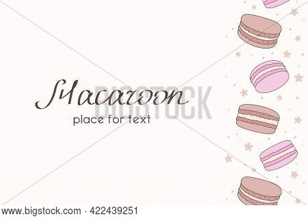 Pale Pink Background With Vertical Border Of Chocolate And Pink Macaroons, Small Stars And Place For
