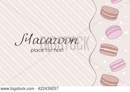 Vertical Border Of Chocolate And Pink Macaroons, Small Stars And Place For Text On A Beige Striped B
