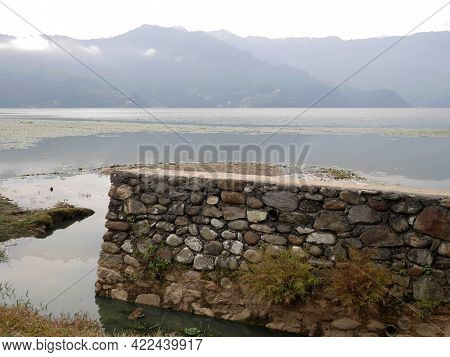 Viewpoint And Wooden Canoe Boat Of Nepali Floating In Phewa Tal Or Fewa Lake Wait Service Nepalese P