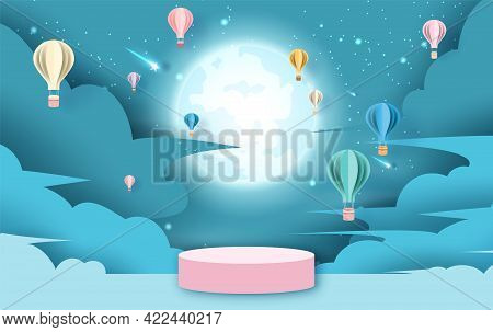Holiday Of Hot Air Balloons On Abstract Cloud In Full Moon And Shooting Star Night Sky Background Wi