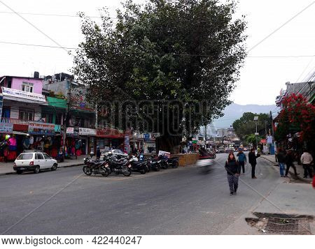 Life Of Nepali People Ride Bike Drive Walking On Street With Foreign Travelers Travel Visit On Baida