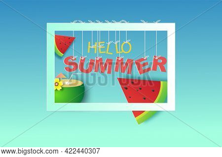 Frame For Your Text With Hello Summer Time Season On Blue Background. Simple Design Paper Cut And Ar