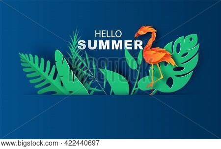 Summer Sale Banner With Paper Cut Flamingo And Tropical Leaves On Blue Background. Exotic Floral Des