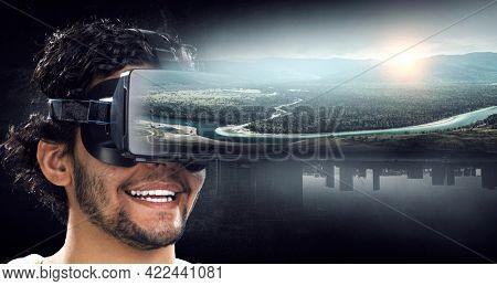Virtual reality experience. Technologies of the future. . Mixed media