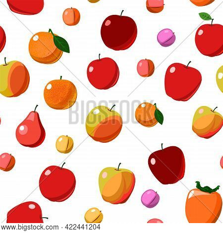 The Most Popular Red And Orange Fruits Are Fruit Trees. Seamless Background Image. Isolated. Cartoon
