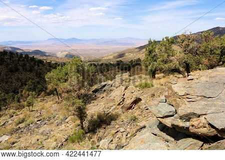 Eroded Rocks On An Arid Mountain Ridge Overlooking The Mojave Desert Taken At An Alpine Meadow Surro