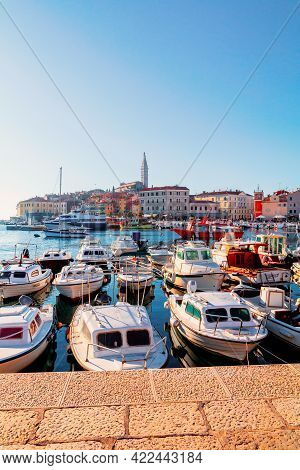 Cozy And Quiet Town Of Rovinj With Beautiful Colorful Houses On The Istrian Peninsula, Adriatic Sea