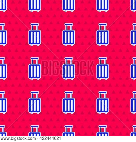 Blue Suitcase For Travel Icon Isolated Seamless Pattern On Red Background. Traveling Baggage Sign. T