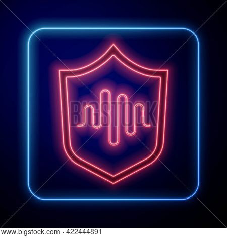 Glowing Neon Shield Voice Recognition Icon Isolated On Blue Background. Voice Biometric Access Authe