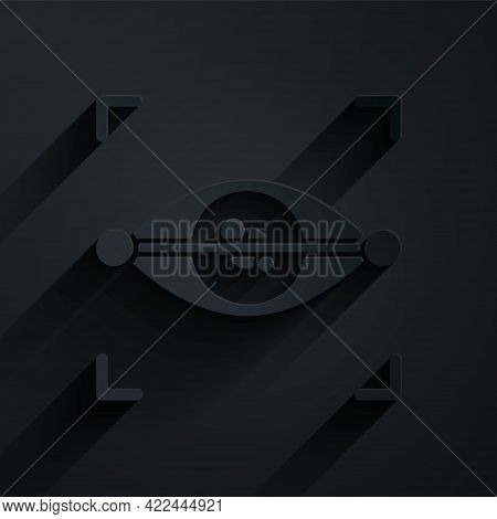 Paper Cut Eye Scan Icon Isolated On Black Background. Scanning Eye. Security Check Symbol. Cyber Eye