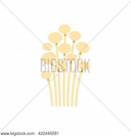 Enoki Mushroom Icon. Vector Isolated Flat Color Icon. Modern Glyph Sticker Design. Illustrations Of