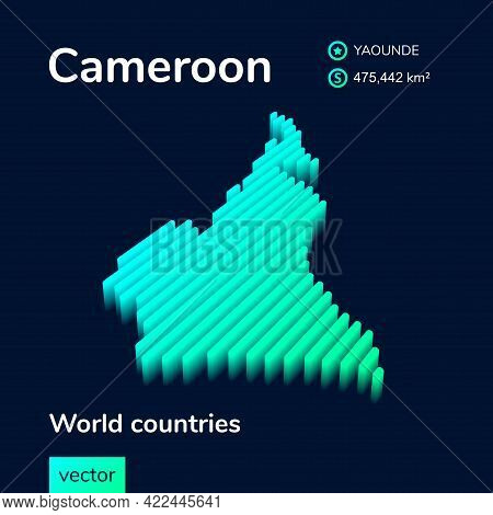 Stylized Striped Vector Isometric 3d Map Of Cameroon. Map Of Cameroon Is In Neon Green And Mint Colo