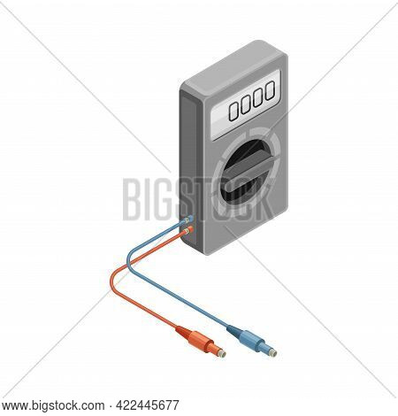 Ammeter As Measuring Instrument And Electric Power Object Isometric Vector Illustration