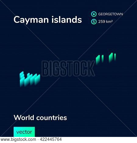 Stylized Isometric Neon Striped Vector Cape Verde Map With 3d Effect. Map Of Cape Verde Is In Green