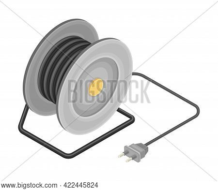 Coil With Cable As Electric Power Object Isometric Vector Illustration