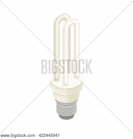 Compact Fluorescent Light Bulb As Electric Power Object Isometric Vector Illustration