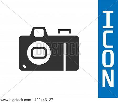 Grey Photo Camera Icon Isolated On White Background. Foto Camera Icon. Vector