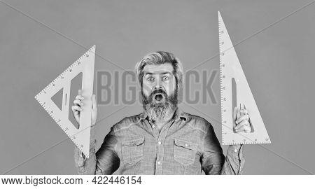 Education Concept. Architect Education. Bearded Man Teacher Use Ruler. Innovative Approach. Drawing