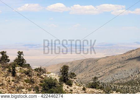Mountain Ridge Covered With Chaparral Plants And Pinyon Pine Trees Overlooking The Mojave Desert On