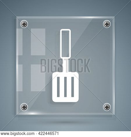 White Barbecue Spatula Icon Isolated On Grey Background. Kitchen Spatula Icon. Bbq Spatula Sign. Bar