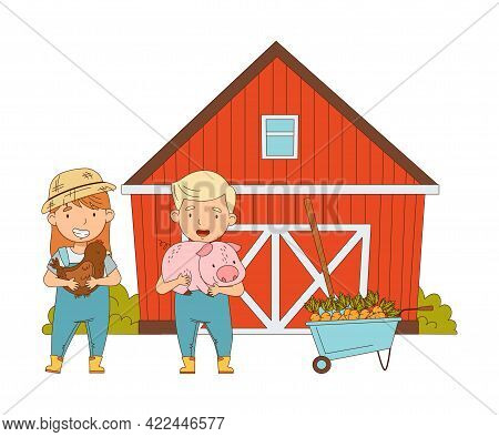 Little Boy And Girl In Overall And Straw Hat Standing In The Yard Near Barn With Livestock Vector Il