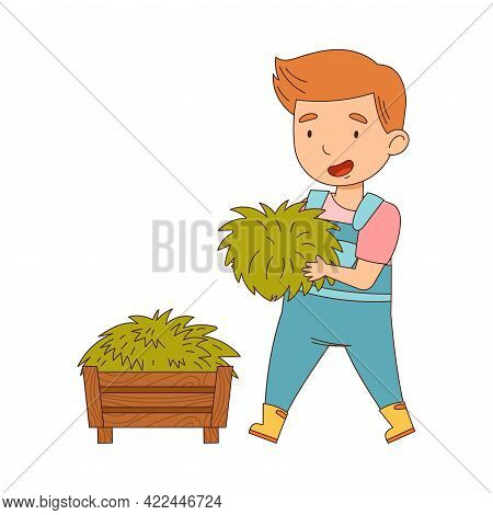 Little Boy In Overall Putting Grass In Wooden Crate Working On The Farm Vector Illustration