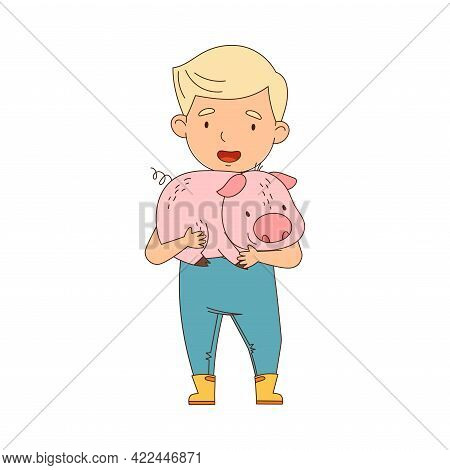 Little Boy In Overall Holding Pig In Arms Farming And Caring About Livestock Vector Illustration