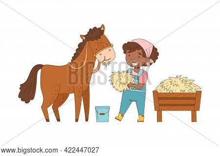 Little African American Girl In Overall Feeding Horse With Hay Rested In Wooden Crate Vector Illustr
