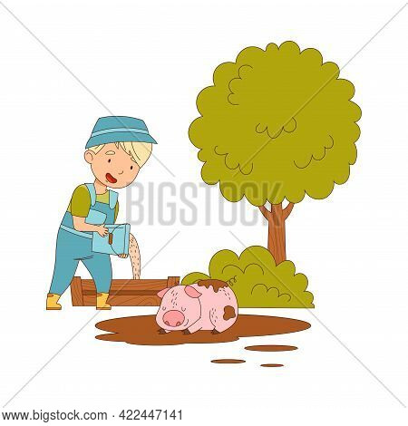 Little Boy In Overall Pouring Fodder For Pig Lying In Puddle Vector Illustration