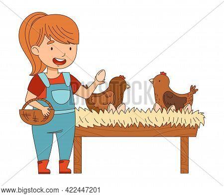Little Girl In Overall Gathering Hen Eggs In Wicker Basket Vector Illustration