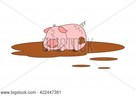 Pink Pig With Curly Tail As Farm Animal Lying In Mud Puddle Vector Illustration