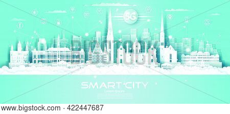 Technology Wireless Network Communication Smart City 5g With Icon In Austria Downtown Skyscraper On