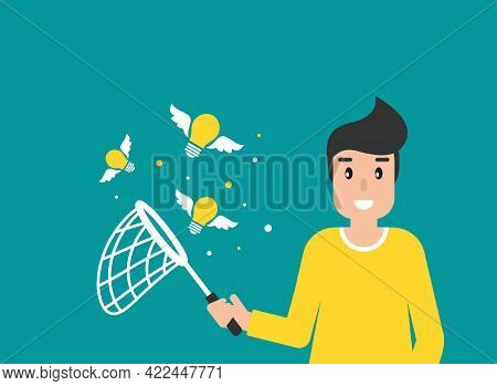 Happy Freelancer Man With Butterfly Net And Flying Idea Bulbs. Flat Vector Illustration On Blue. Cat