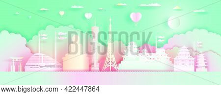 Travel Landmarks Japan Architecture With Love Balloons In Colorful Background. Paper Art, Paper Cut,