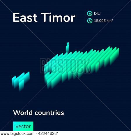 Stylized Striped Vector Isometric Map Of East Timor With 3d Effect. Map Of East Timor Is In Neon Gre