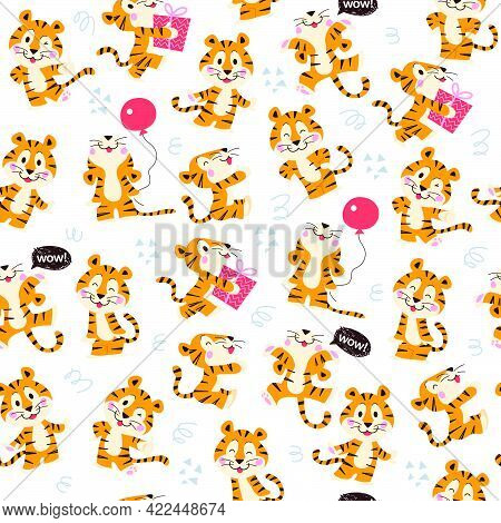 Seamless Pattern With Cute Little Tiger Characters Walk, Jump, Carry Gift Box, Hold Air Balloon Isol