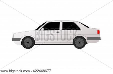 White Sedan Golf Car On White Background - Vector Illustration