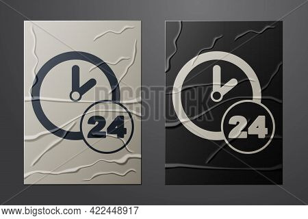 White Clock 24 Hours Icon Isolated On Crumpled Paper Background. All Day Cyclic Icon. 24 Hours Servi