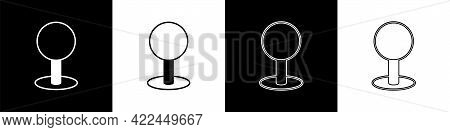 Set Push Pin Icon Isolated On Black And White Background. Thumbtacks Sign. Vector