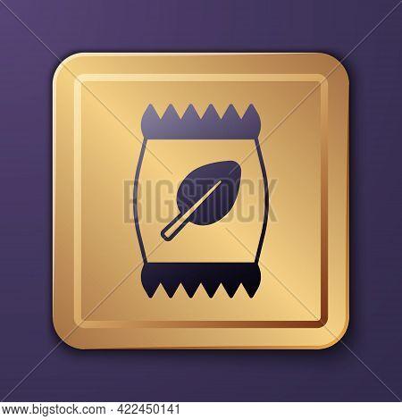 Purple Fertilizer Bag Icon Isolated On Purple Background. Gold Square Button. Vector